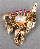 18K Yellow Gold Baroque Pearl & Ruby Brooch / Pin