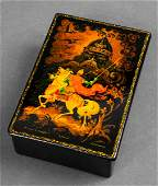 Russian Hand-Painted Lacquer Box, Vintage