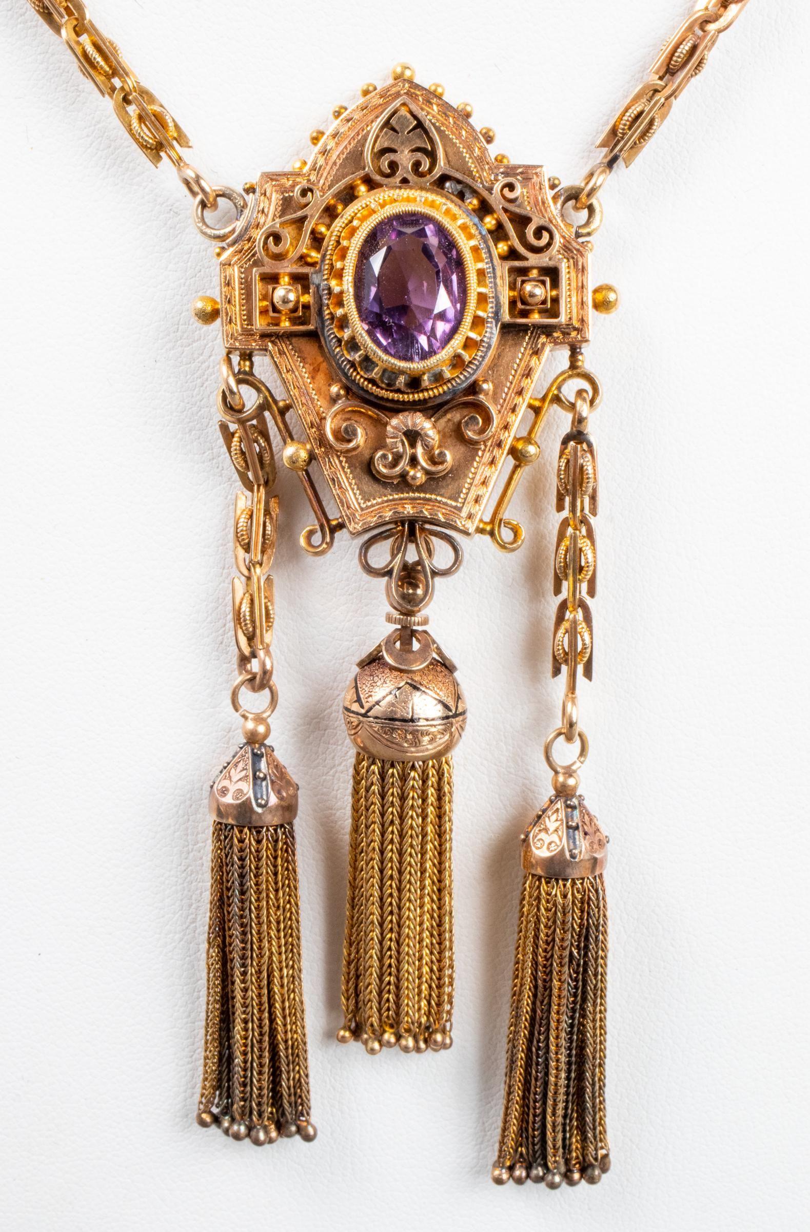 Antique 14K Yellow Gold & Amethyst Tassel Necklace