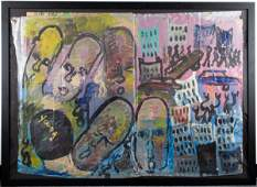 Purvis Young Folk  Outsider Art Mixed Media
