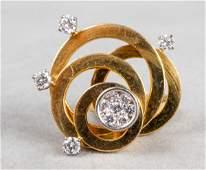 Mid-Century Modern 18K Yellow Gold & Diamond Ring