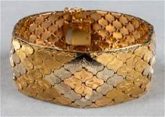 Vintage 18K TriGold Ornate Wide Bracelet
