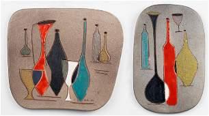 Italian Mid-Century Still Life Ceramic Plaques, 2