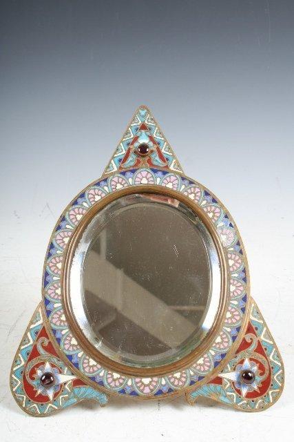 22: Russian Nouveau Mirror w/Ruby & Enamel Frame