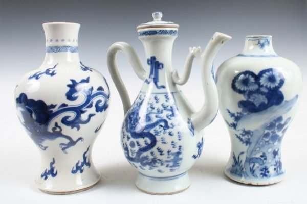 295: Set of 2 Chinese Vases w/Teapot c. 18th C.