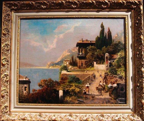 321:  Lago di Como  Oil by German Robert Alott