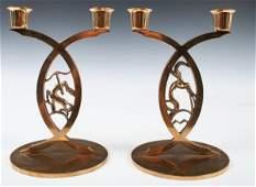 353: Set of 2 Bronze Deco Zodiac Candlesticks 1930s
