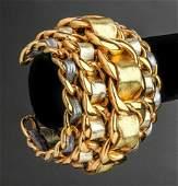 Chanel Runway GoldTone  Lambskin Cuff Bracelet