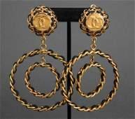 Chanel Double Hoop Lambskin Earrings 1993