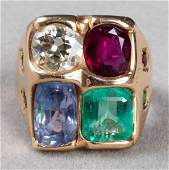 K Yellow Gold Diamond & Colored Stone Ring