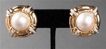 14K Yellow Gold Mabe Pearl & Diamond Earrings