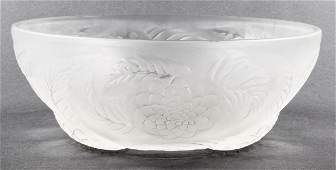"""R. Lalique """"Dahlia"""" Frosted Art Glass Bowl"""