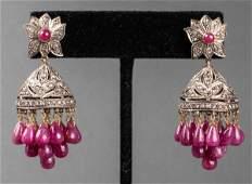 Antique 18K Gold & Silver Ruby & Diamond Earrings