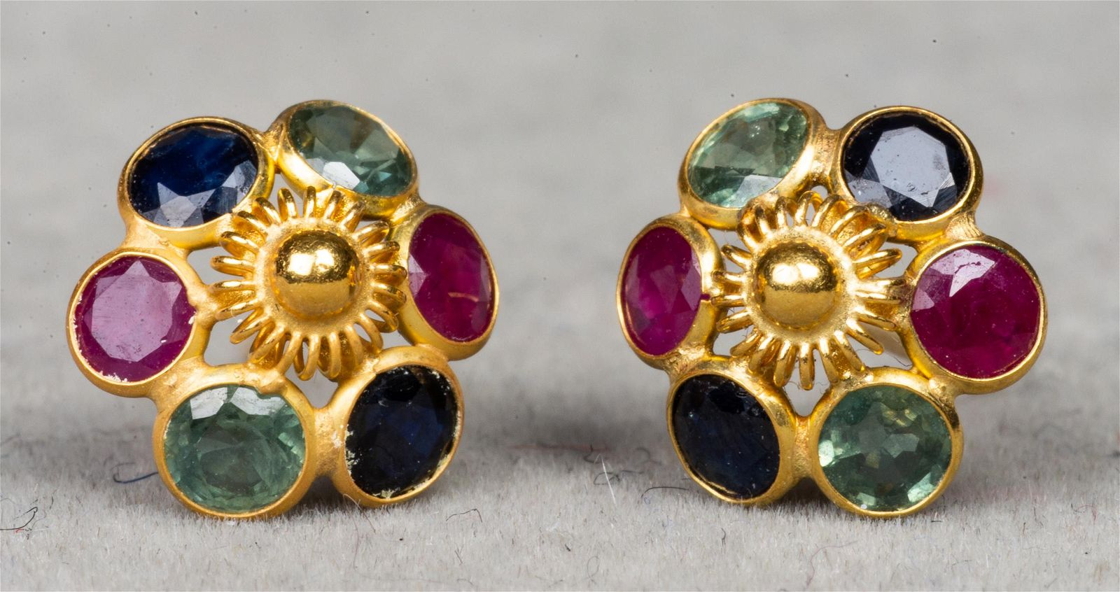 18K Yellow Gold Multi-Colored Spinel Earrings