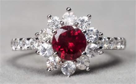 Silver Color Change Garnet & White Zircon Ring