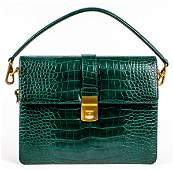 Green Embossed Faux Leather Handbag