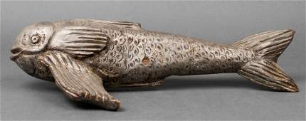 Silver Painted Folk Art Cared Wood Fish Sculpture
