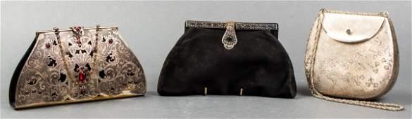 Vintage Metal Hardcase & Leather Purses, 3