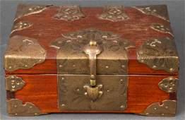 Chinese Brass Mounted Wood Box Vintage