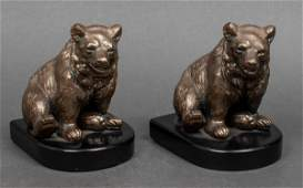 Bookends of Bears w Bronze Finish Pair