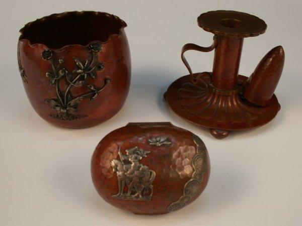 1: Set of 3 Gorham Hammered-Copper Nouveau Pieces