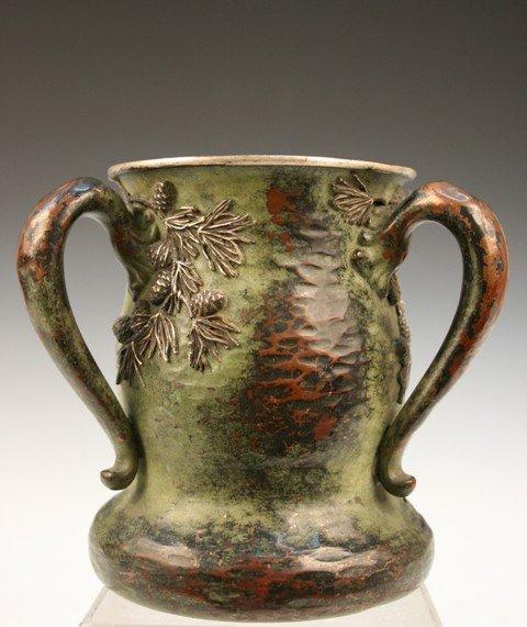 3: American Arts & Crafts 3-Handled Hammered Vase