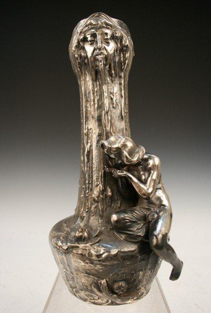 12: Nouveau-Style Silvered-Porcelain Long-Neck Vase