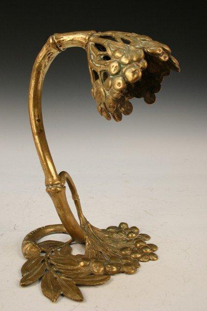 13: Cast-Bronze Nouveau Table Lamp Blueberry Motif