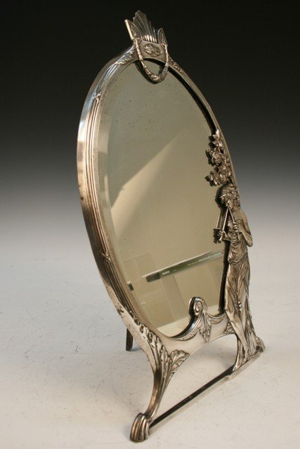24: German W.M.F Silvered-Bronze Table Mirror c1900