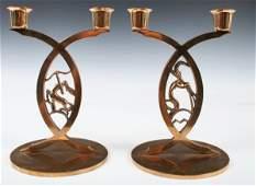 381: Set of 2 Bronze Deco Zodiac Candlesticks 1930s