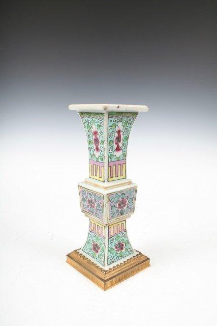 413: Cartier Ceramic Famille Rose Flower Vase 1930s