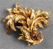 Vintage Tiffany & Co. 18K Yellow Gold Leaf Brooch