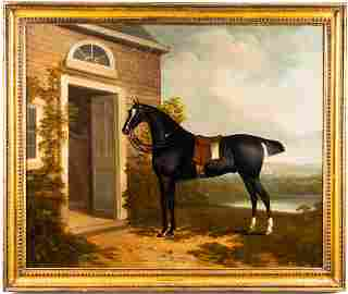 Charles Towne Equestrian Portrait Oil on Canvas