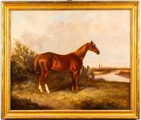 Antique British School Equestrian Portrait Oil