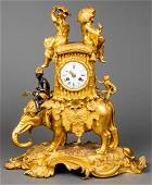 Louis XV Style Chinoiserie Gilt Bronze Clock