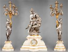 A. Carrier-Belleuse Clock & Garniture Set, 19th C.