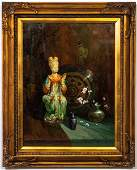 """Robert A. Maguire """"Lady of the Court"""" Oil"""