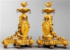 Louis XVI Style Gilt Bronze Chenets Pair