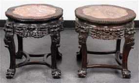 Chinese Carved Hardwood And Marble Side Tables 2