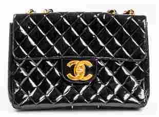 Chanel Black Patent Leather Flap Handbag