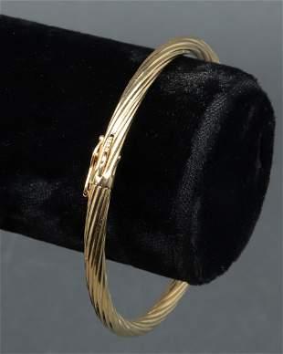 14K Yellow Gold Torque Oval Hinge Bangle Bracelet