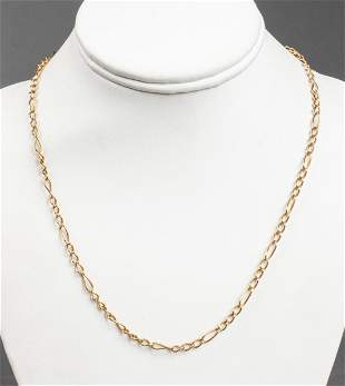 Vintage 14K Yellow Gold Figaro Link Chain Necklace