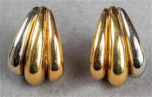 Mid-Century Modern 18K Tri-Gold Clip Earrings