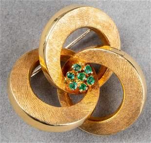 Vintage 18K Yellow Gold & Emerald Pin / Brooch