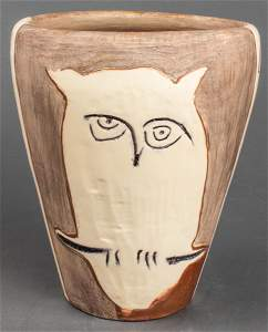 """Pablo Picasso """"Face and Owl"""" Pottery Vase, 1958"""