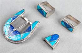 Navajo Silver Turquoise  Lapis Belt Buckle 4 Pcs