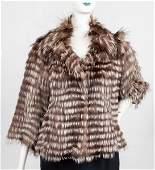 Casa Lopez Satin And Fox Fur Coat