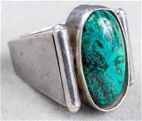 Taxco Mexican Silver Oval Azurmalachite Ring