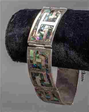 Catalan Taxco Silver Abalone Shell Inlay Bracelet