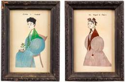19th C Folk Art Miniature Watercolor Portraits 2